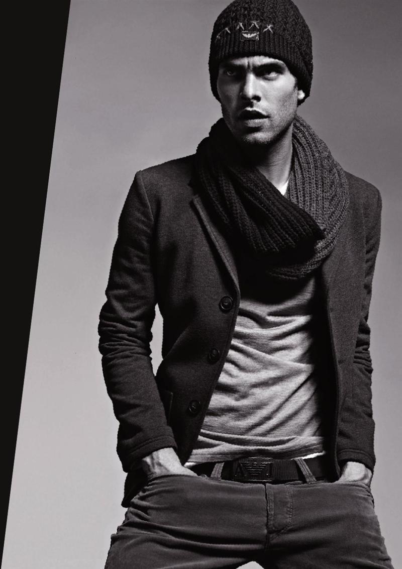 мужской вязаный шарф осень 2011