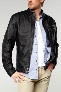 мужской черный кожаный жакет фото