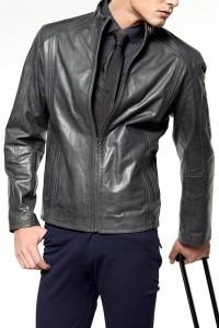 черная куртка из натуральной кожи для мужчин 2012