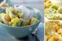 Фруктовый салат из манго, ананаса и физалиса